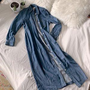 Jones New York Long Denim Button Front Shirt Dress